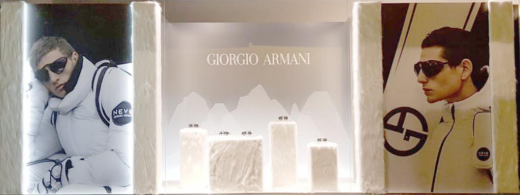 Vetrina per Luxottica e Sunglass Hut galeries Lafayette Giorgio Armani Eurostands